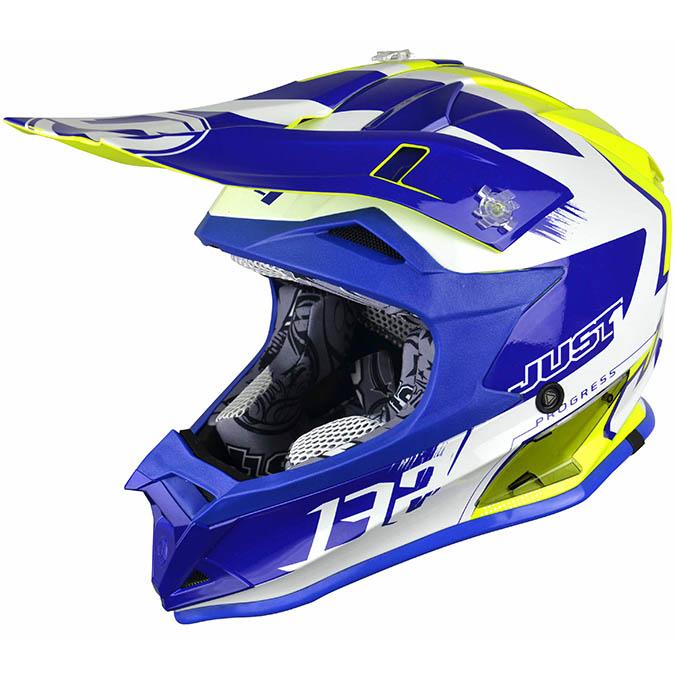 Just1 - J32 Pro Kick White/Blue/Yellow шлем, бело-сине-желтый