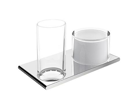 Keuco Edition 400 Двойной держатель со стаканом и дозатором жидкого мыла 11553