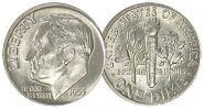 США дайм (10 центов) 1955 СЕРЕБРО UNC яркий штемпельный блеск из ролла