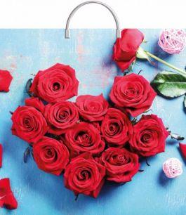 """Пакет с пластиковой ручкой  36х37 см """"Розы в лазури""""  10 шт. 100 мкм"""