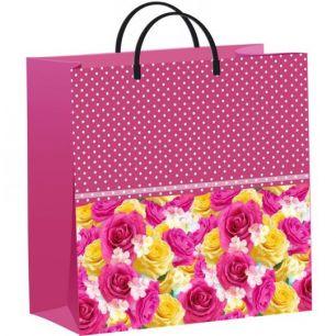 """Пакет из мягкого пластика 30х30 см """"Розы в горошек""""   140 мкм"""