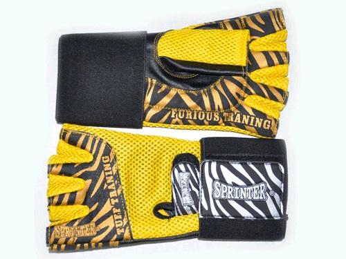 Перчатки для тяж. атлетики Sprinter с напульсником (кожа, сетка) желтые