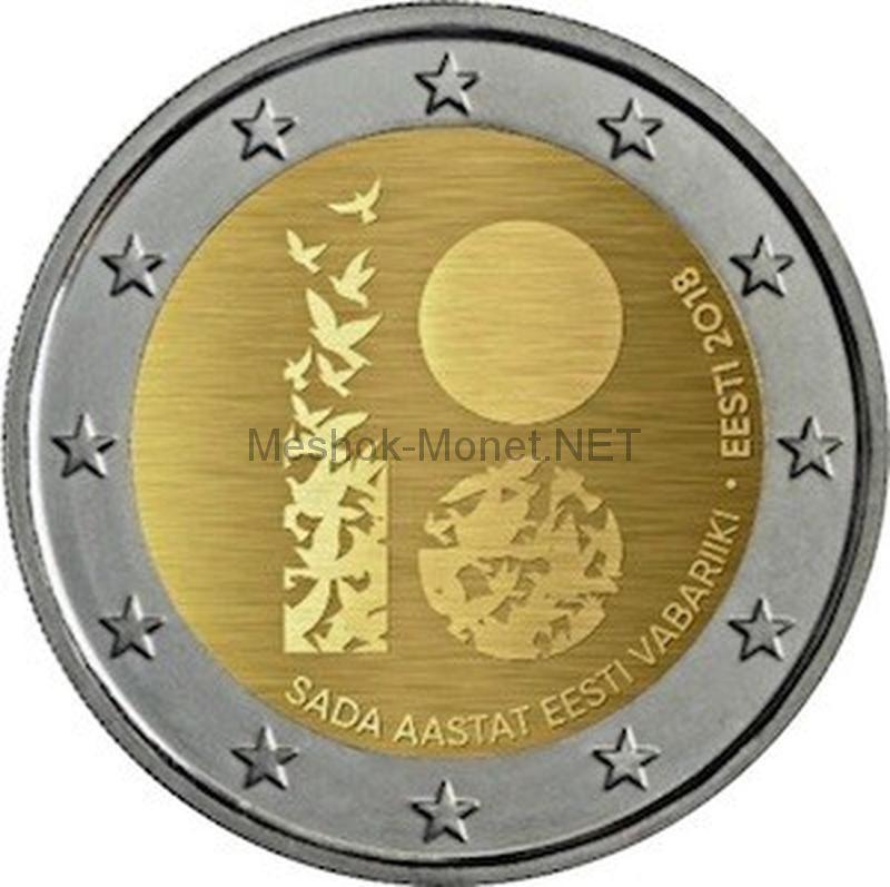 Эстония 2 евро 2018, 100 лет Республике