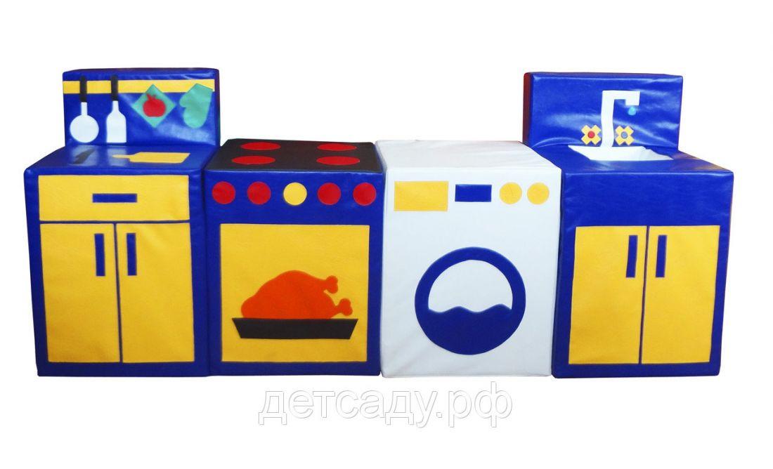"""Тематический набор """"Кухня игровая"""", 4 мягких модуля, съемные элементы кухонной утвари"""