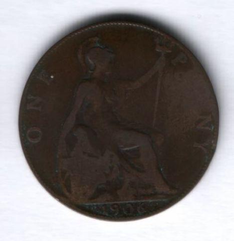 1 пенни 1906 г. Великобритания