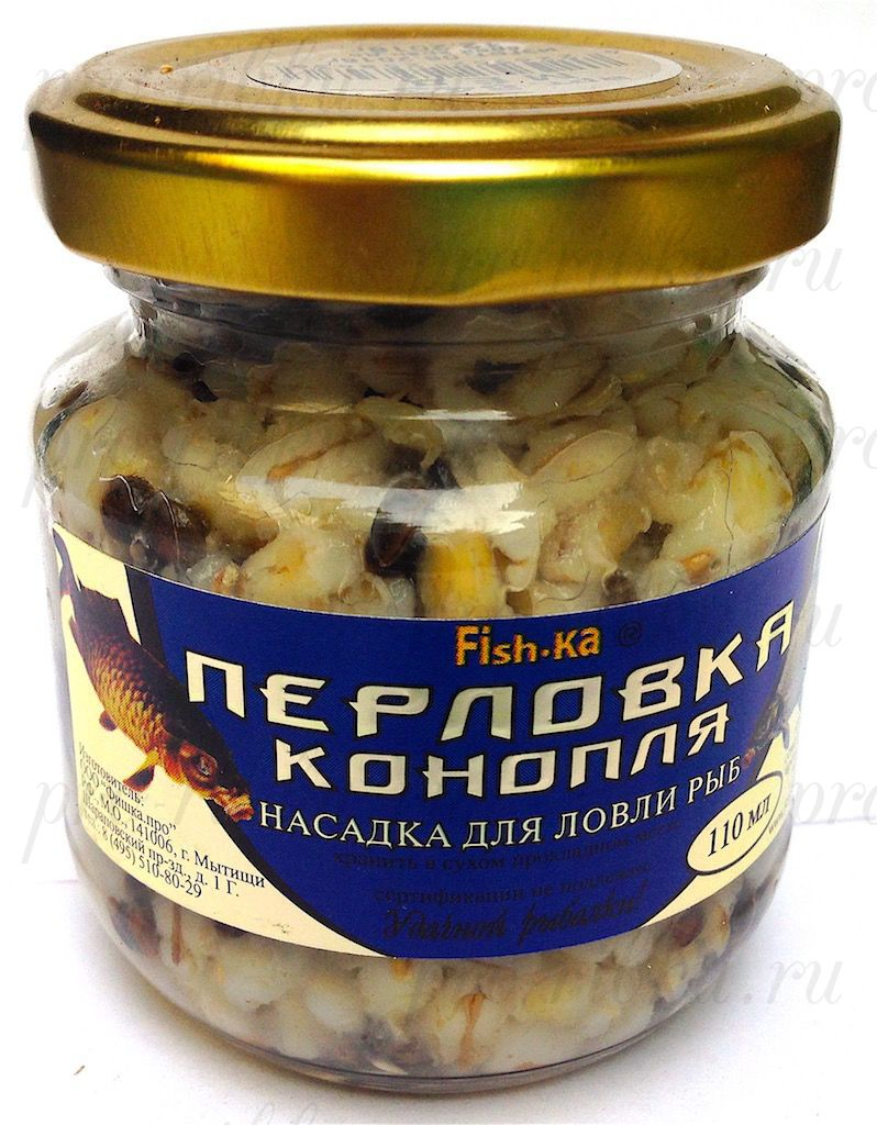 Консервированная натуральная насадка FISH.KA Перловка-Конопля (клубника) объем 110 мл