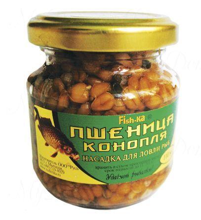 Консервированная натуральная насадка FISH.KA Пшеница-Конопля (запах червя) объем 110 мл