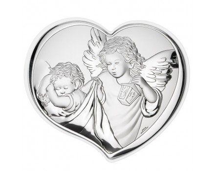 """Серебряная миниатюра """"Ангел Хранитель"""" (гальванопластика, Италия)"""