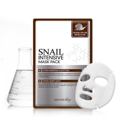 Secret Key Snail Маска для лица тканевая с муцином улитки Snail Intensive Mask Pack 1P(sheet) 20гр