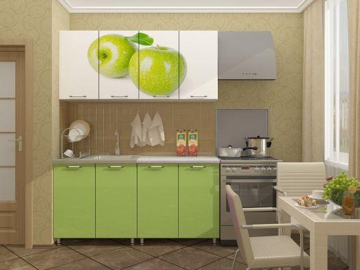 Кухня МДФ с фотопечатью Яблоко 1,6 м