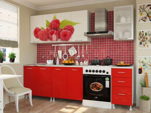 Кухня ЛДСП с фотопечатью Малина 2,0 м