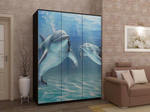 Шкаф с фотопечатью Дельфины МДФ