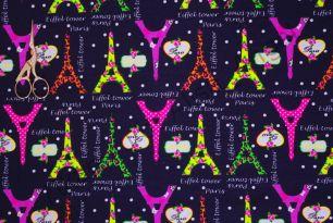 Париж (Неон) на т.синем  кулирка с лайкрой
