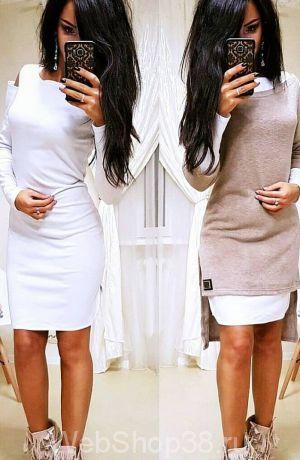 Крутое платье 2 в 1 с туникой цвет мокко