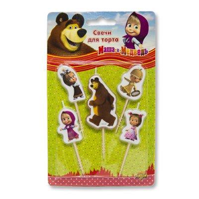 Свечи на пиках Маша и Медведь, 5 штук