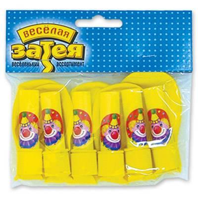 Шарики с гудком, Клоун с шарами, 6шт