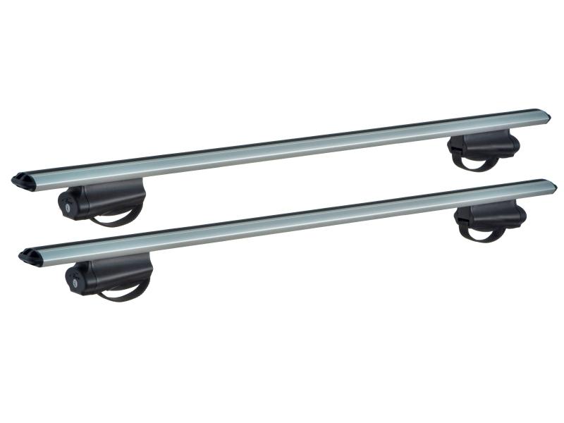 Багажник на рейлинги Nissan Terrano (2014-...), Lux Belt с аэродинамическими дугами (73мм), с ремнем