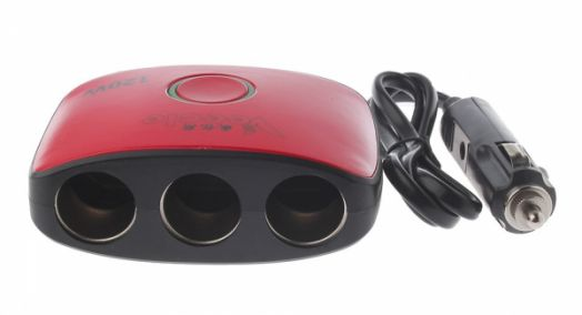 Разветвитель авто VEECLE KY-538 (3 гнезда+2*USB)