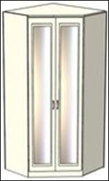 Шкаф-трапеция Ждана зеркальный разносторонний двухдверный, модуль 53 (86/96 см)