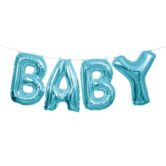 Слово BABY синее шар фольгированный с воздухом