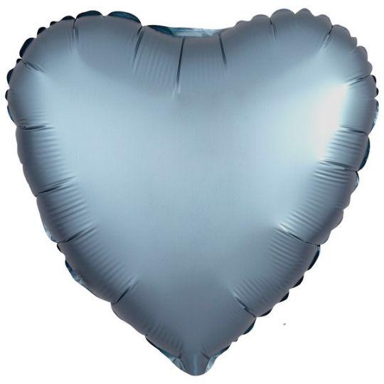 Сердце Сталь (Сатин) шар фольгированный с гелием