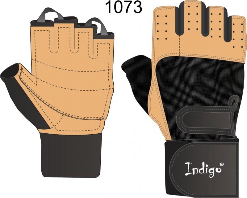Перчатки тяжелоатлетические INDIGO SB-16-1073  (кожа, спандекс)