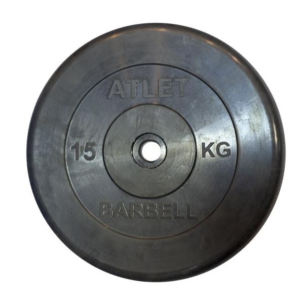 Диски обрезиненные, чёрного цвета, 26 мм, Atlet MB-AtletB26-15