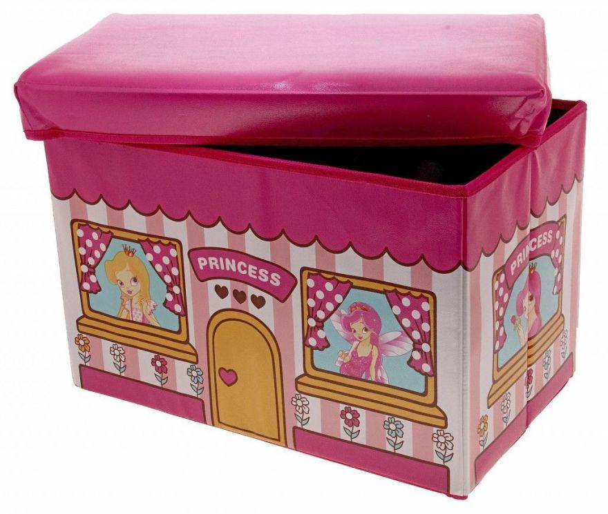 Короб-пуф для хранения игрушек 48х28х30 см (Принцессы)