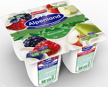 Йогурт Alpenland 0,3% лесн.ягода/яблоко/груша 95г ООО Эрманн