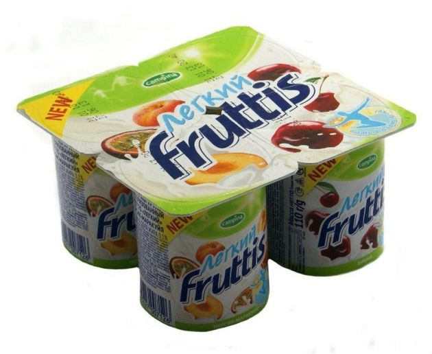 Йогурт Фруттис 0,1% перс/марак/виш 110г ООО Кампина