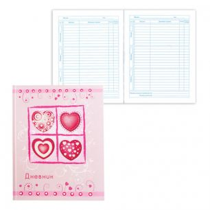 """Дневник для 5-11 классов, твердый, BRAUBERG, выборочный лак, """"Сердечки на розовом"""", 104257"""