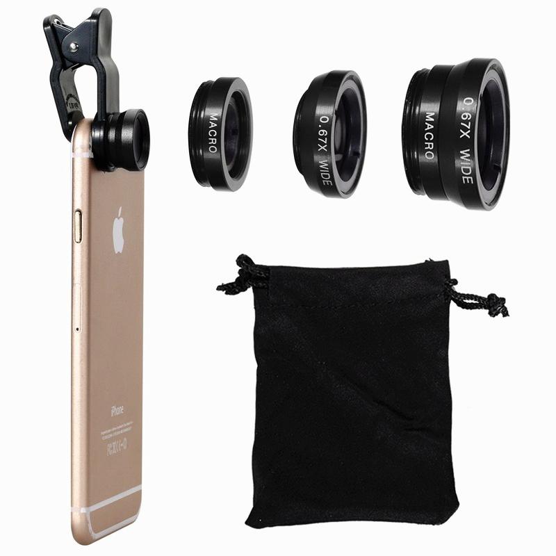 Универсальный набор линз для съемок смартфоном со спецэффектами: макро/широкоформатная съемка/рыбий глаз