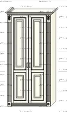 Шкаф 2-дверный Ферсия, мод. 24 МДФ с 2 пилястрами