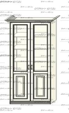 Шкаф-витрина 2-дверный Ферсия, мод. 27 МДФ без пилястр