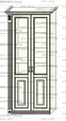 Шкаф-витрина 2-дверный Ферсия, мод. 30 МДФ с 1 пилястрой слева