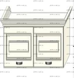 Антресоль 2-дверная навесная с подъемным механизмом Ферсия, мод. 34 МДФ
