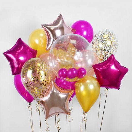 Набор гелиевых фольгированных шаров HAPPY
