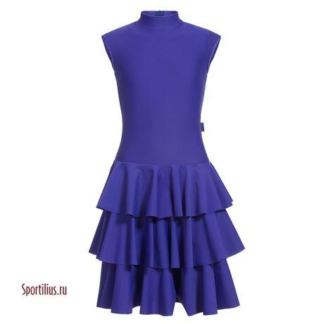 Синее платье с трехярусной юбкой