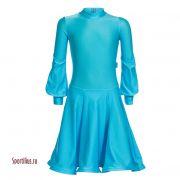 Бирюзовое платье для танцев, длинный рукав фонарик