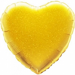 Сердце золотое голографическое шар фольгированный с гелием