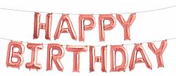 Надпись HAPPY BIRTHDAY набор фольгированных шаров-букв розовое золото 40 см