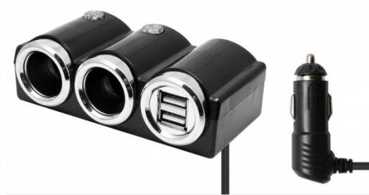 Разветвитель авто OLESSON 1502 (2 гнезда+2*USB)