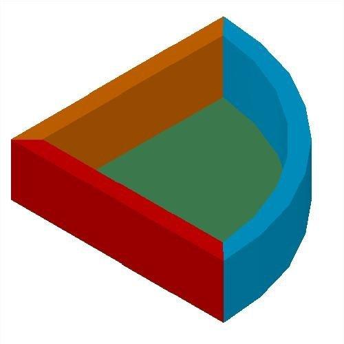 Сухой бассейн угловой трёхцветный 2х2х0,5м