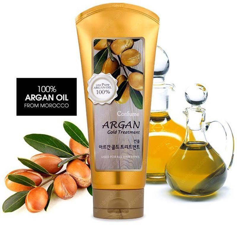 Маска для поврежденных волос с аргановым маслом Welcos Confume Argan Gold Treatment