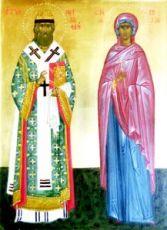 Икона Митрофан и Лидия Иллирийские (копия старинной)