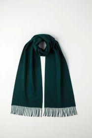 однотонный кашемировый шарф (100% драгоценный кашемир), цвет Малахит Tartan Green Classic cashmere, высокая плотность 7