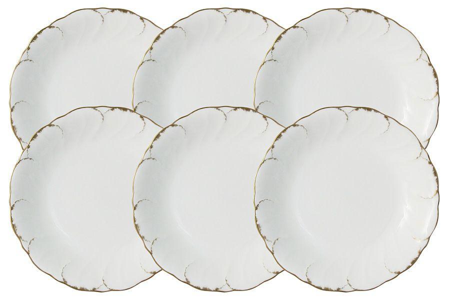 """Набор из 6 суповых тарелок """"Белый с золотом"""", 19 см"""