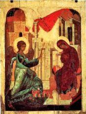 Икона Благовещение 15 век (Школа Рублева)