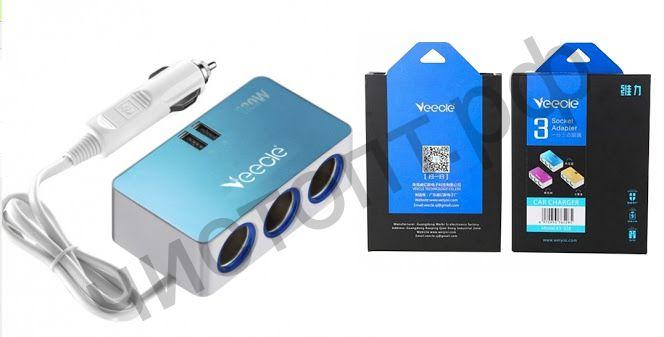 Разветвитель прикуривателя VEECLE KY-528 (3 выхода +2*USB) провод