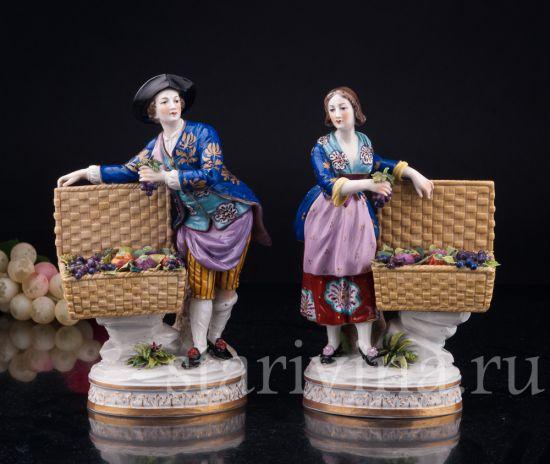 Изображение Пара с корзинами фруктов, Volkstedt, Германия, кон.19-нач.20 вв